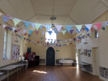 Hall in summer bunting